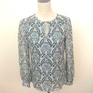 Tory Burch 100% Silk Printed Blouse Size 4